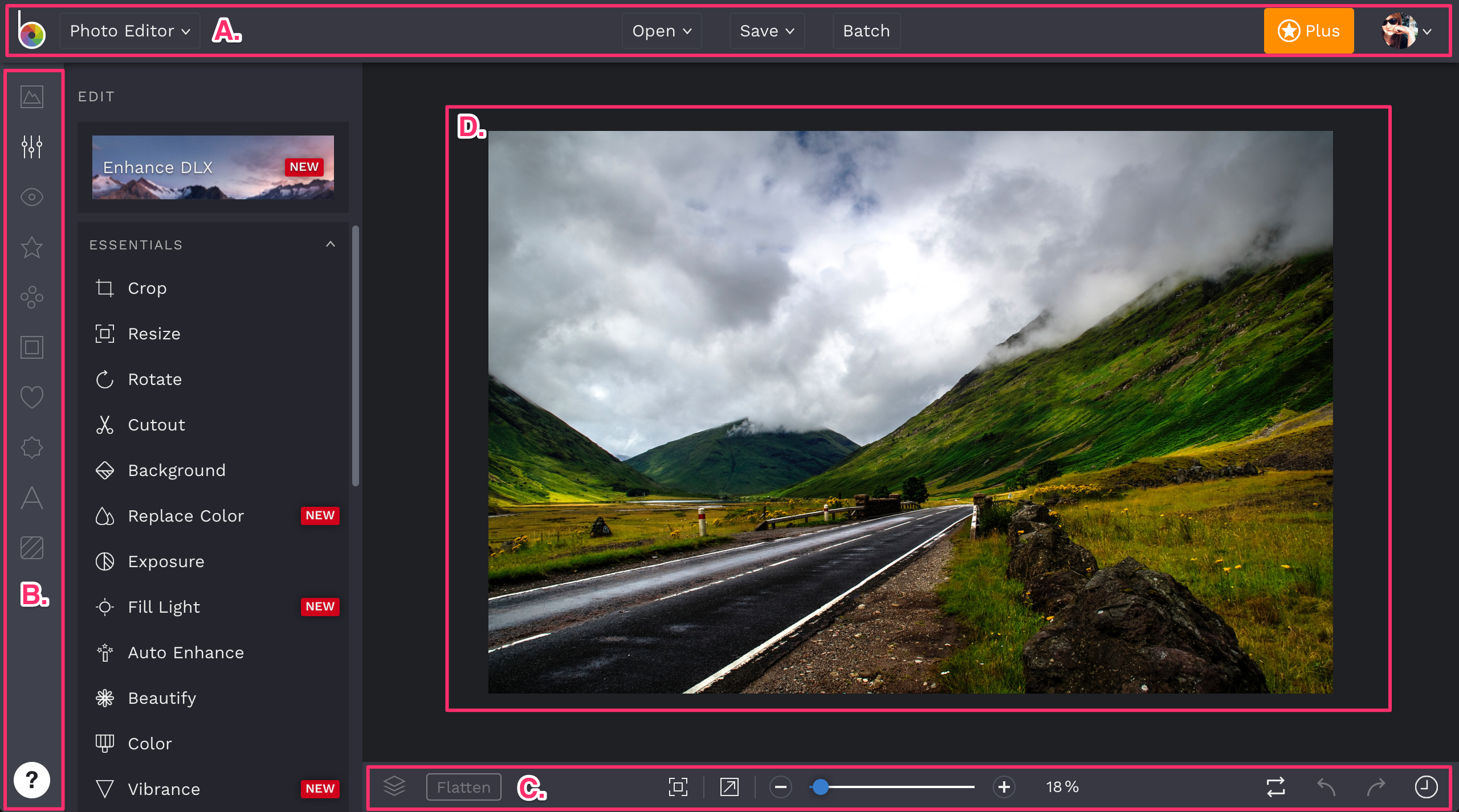 Photo Editor Workspace separated into sections.