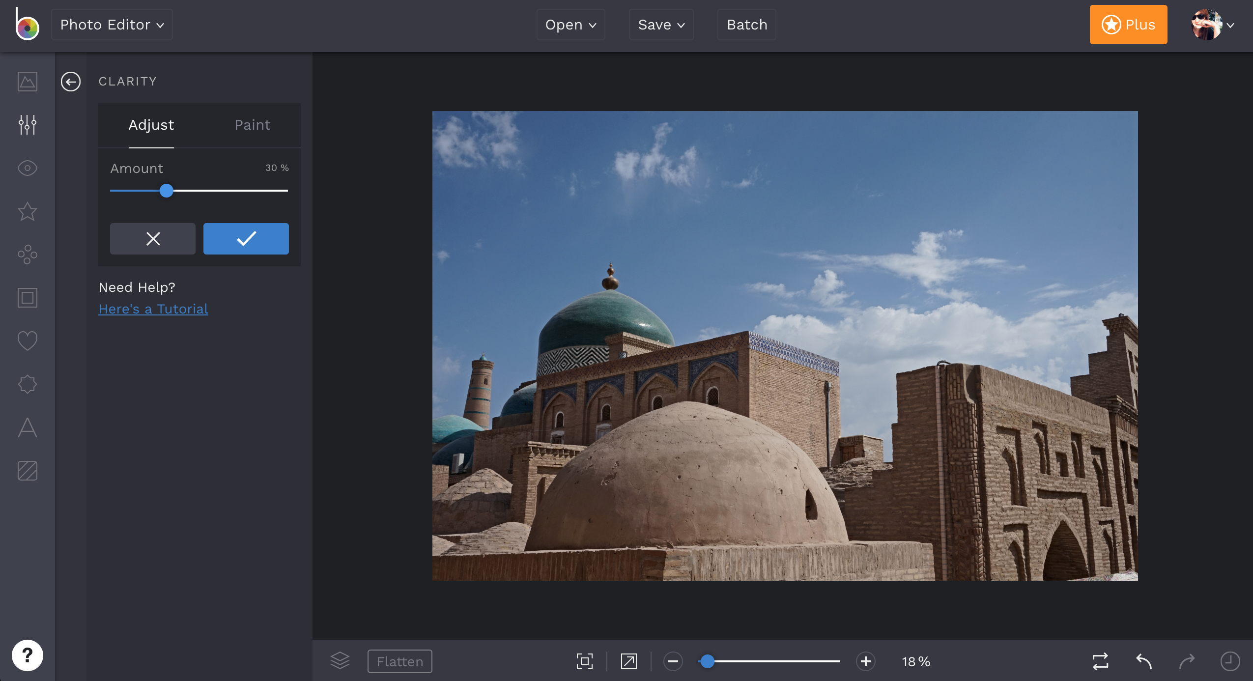 Clarity Tool in the Photo Editor
