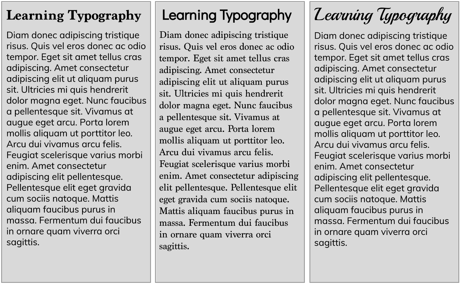 Pairing Different Styles of Fonts